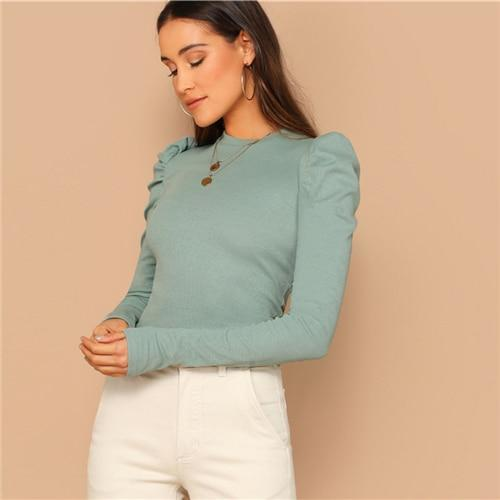 Mock Neck Gigot Sleeve Rib-knit Tee Slim Fit Top - more colours available