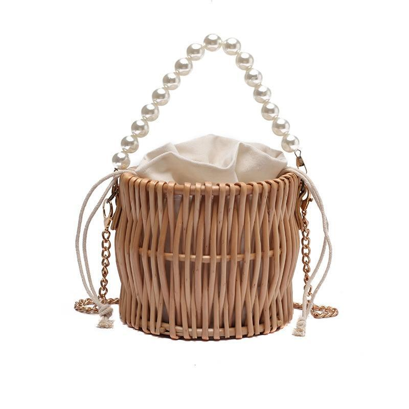 Mini String Rattan Pearl Strap Bucket Bag