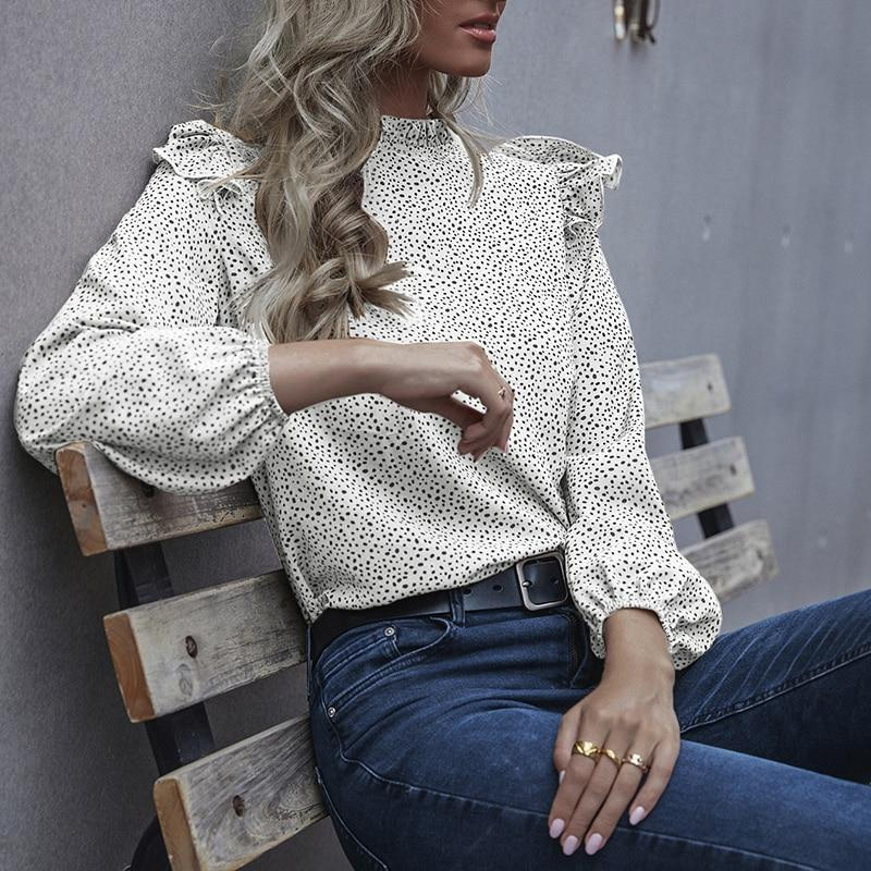 Print Frill Mock Neck Blouse - more colours available
