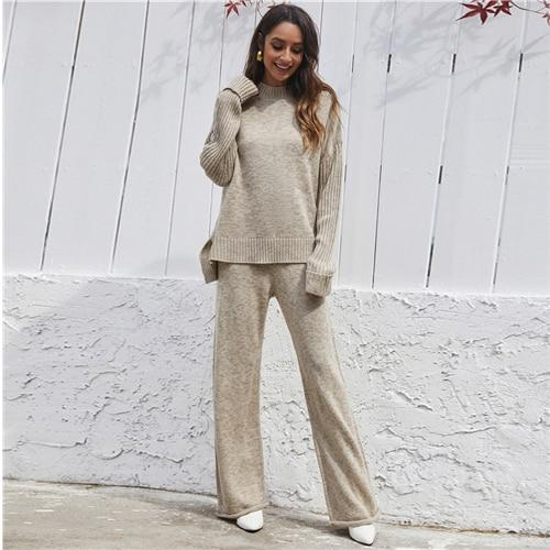 Khaki Space Dye Mock Neck Sweater and Knit Pants Two Piece Set