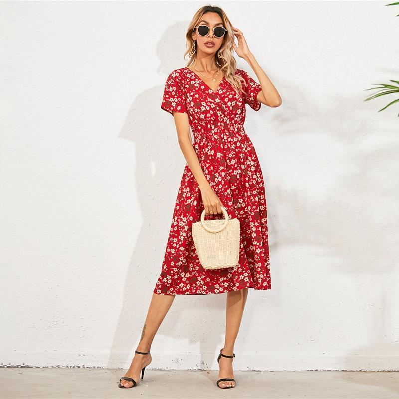 Midi Floral Shirred Wrap A-line V Neck Short Sleeve Midi Dress - more colours available