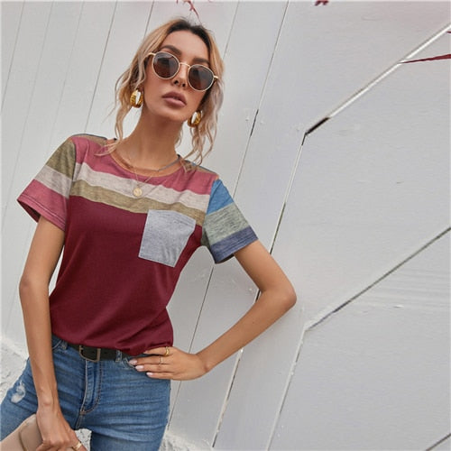Striped Panel Pocket Top