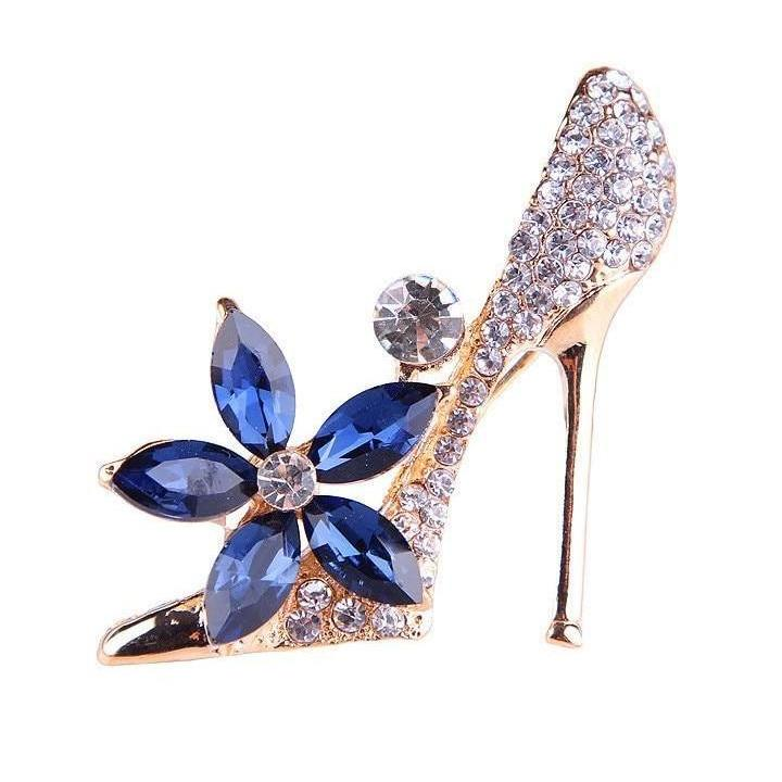 Elegant Shoe Blue Crystal Brooches