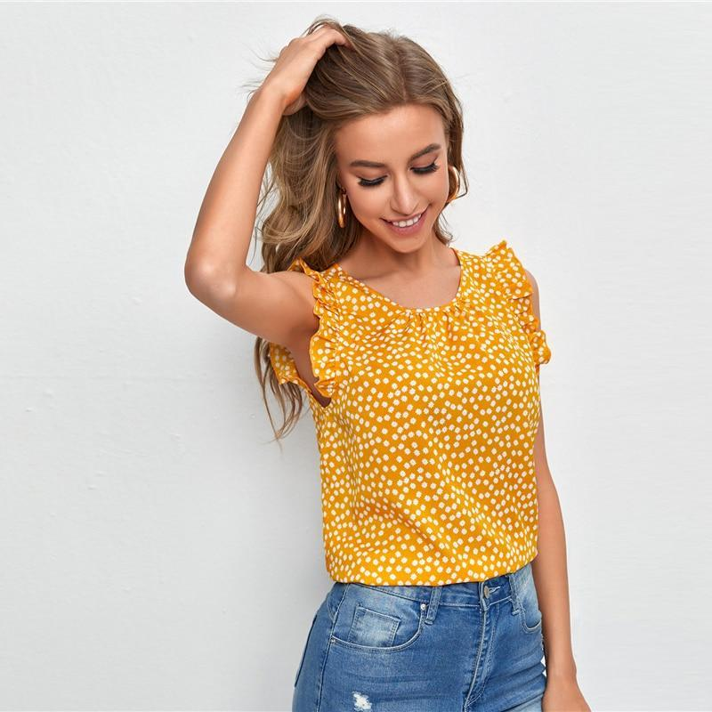Ruffle Trim Ditsy Floral Top