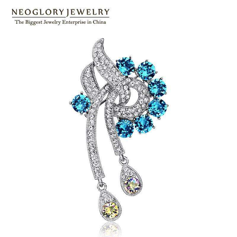 Rhinestone Blue Brooch