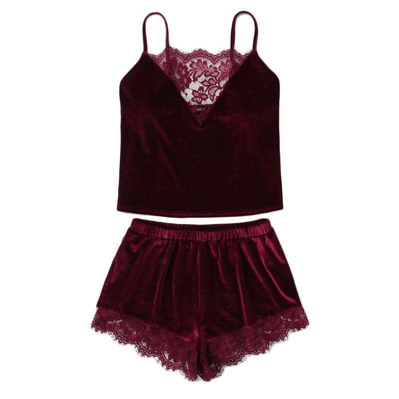 Lace Trim Burgundy Velvet Cami & Shorts Set