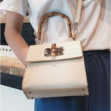 Elegant Box Bamboo Handles PU Leather Bag - 3 colours available