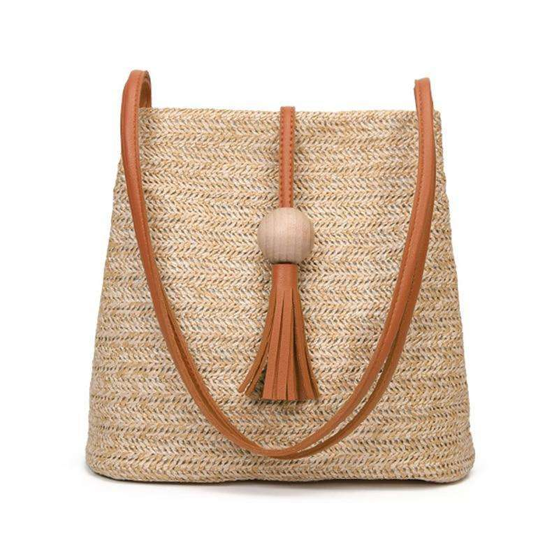 Straw Tassel Detail Bag