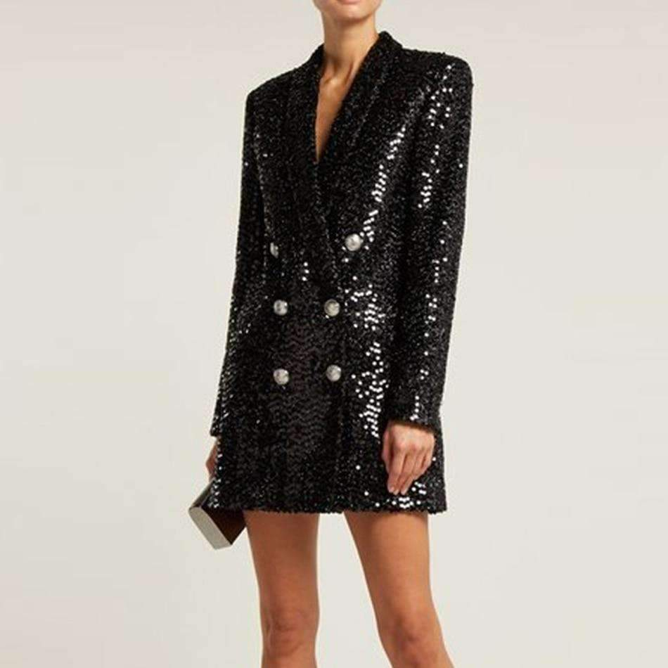 Chic Sequin Long Sleeve Tux Dress