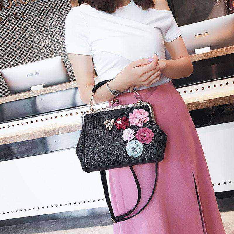Pearl and Flower Straw detail bag - 3 colours available