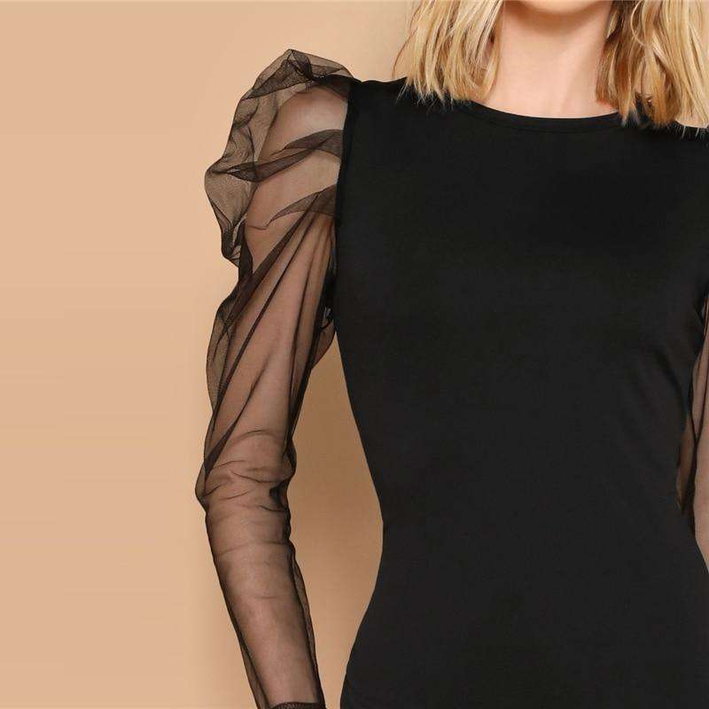 Glamorous Black Sheer Contrast Mesh Sleeves Mini Dress