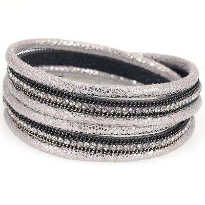 Double Wrap Crystal And Chain Rope Wrap Bracelet - more colours available