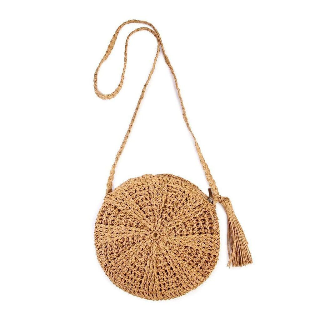 Crochet Straw Round x-Body bag Round