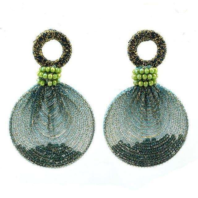 Round Pendant Bead Thread Statement Drop Earrings