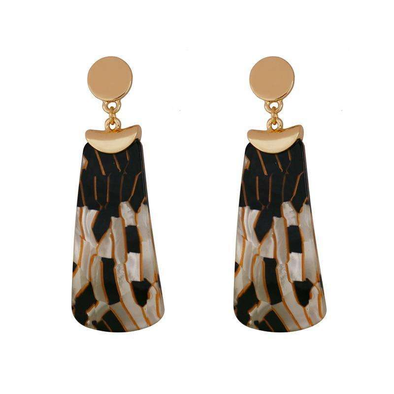Geometric Leopard Print Long Earrings
