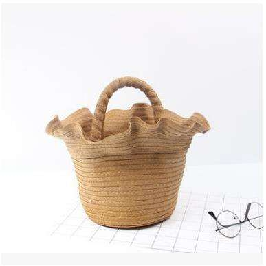 Straw ruffle detail bag - 2 colours available