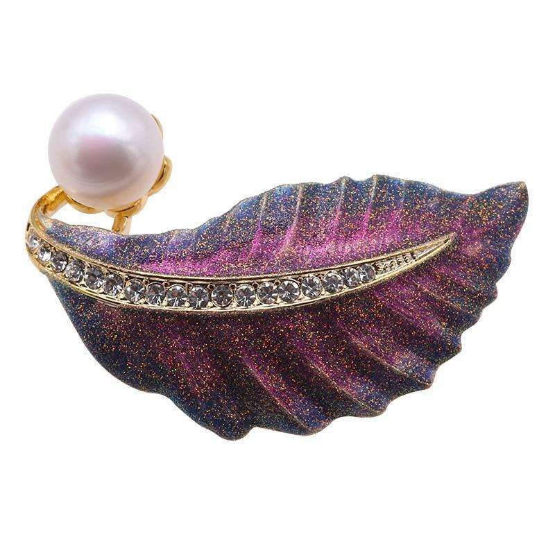 Elegant Purple Large Leaf Brooch