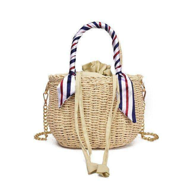 Straw Stripe Handles Bag - 2 colours available