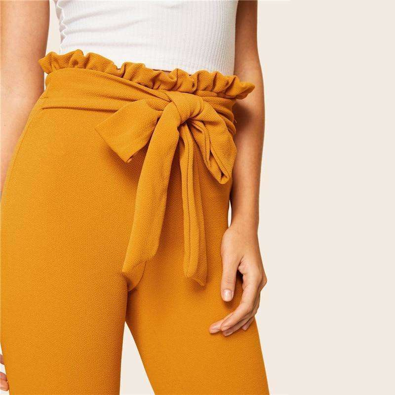 Elegant Paperbag Waist Belted High Waist Pants