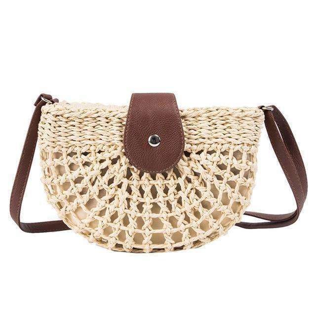 Rattan Woven Straw Crossbody Bag Beach Bag - 2 colours available