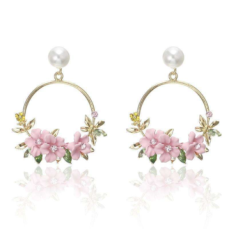 Statement Flower and Crystal Detail Earrings