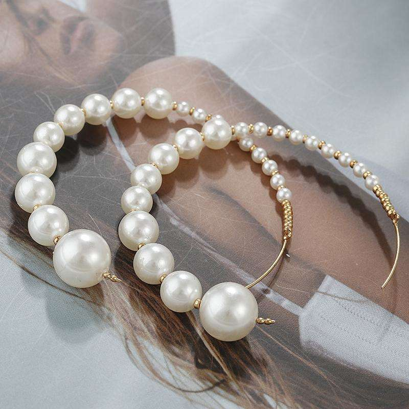 Pearl statement Hoop Earrings