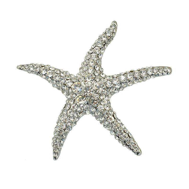 Crystal Rhinestone Starfish Brooch 6 colours