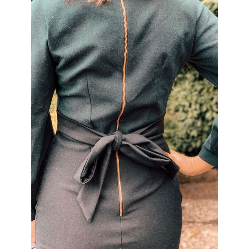 DARK GREEN PLEATED LONG SLEEVE MIDI DRESS