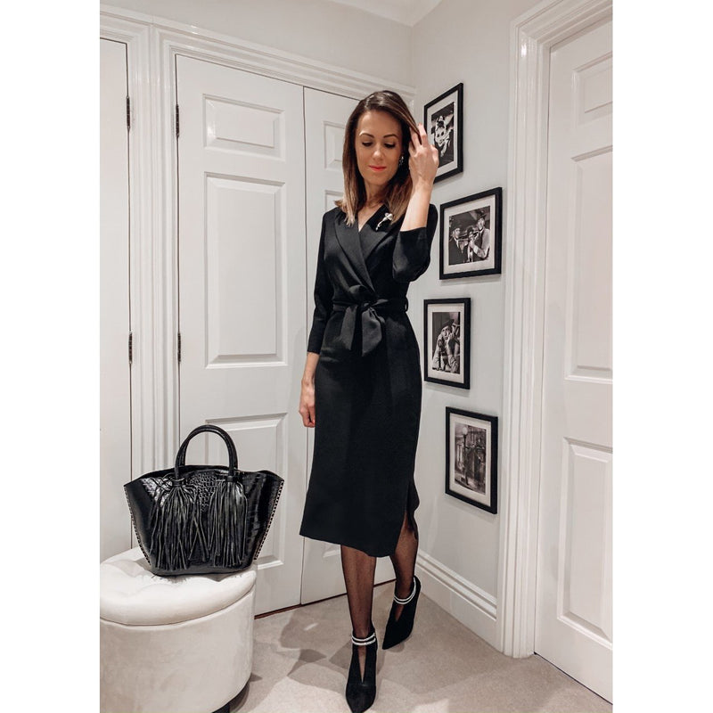 Elegant Black 3/4 Sleeve Pencil Midi Dress