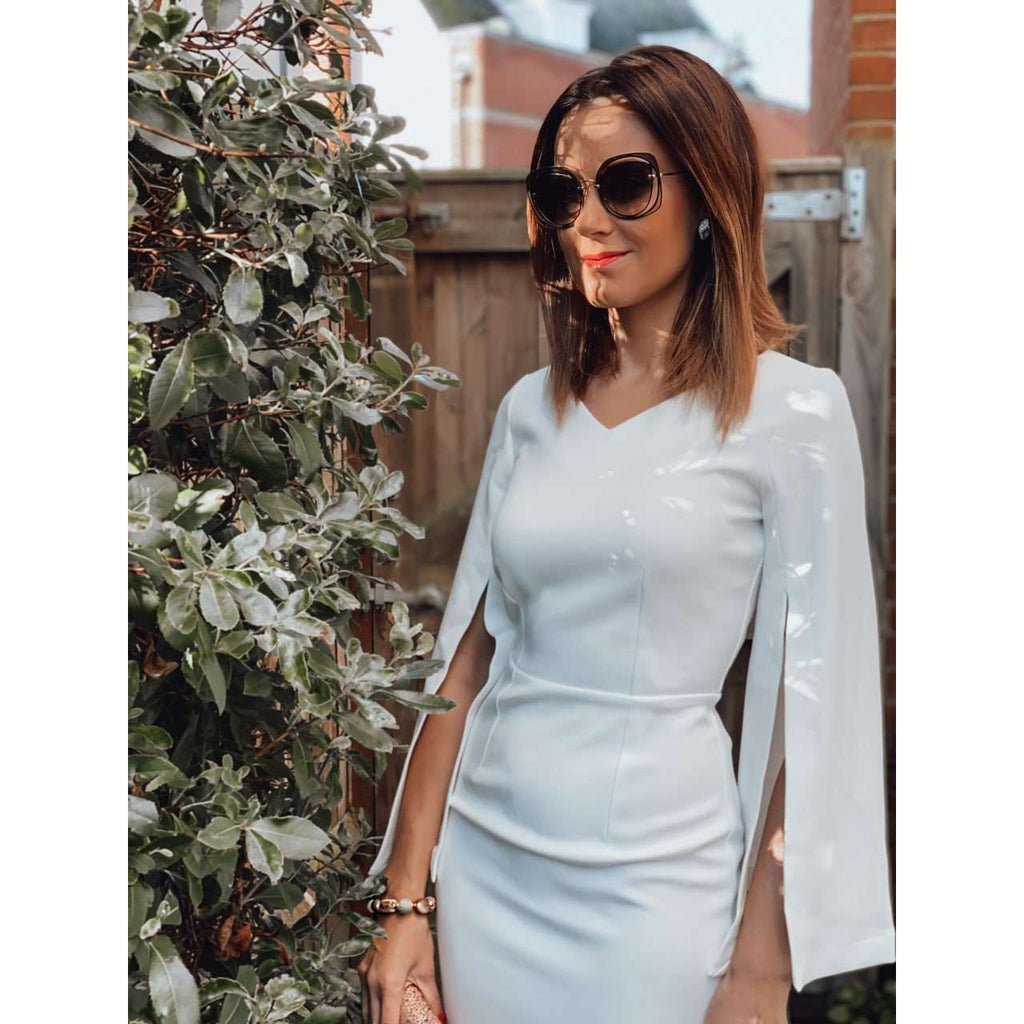 IVORY SPLIT SLEEVE V NECK MIDI PENCIL DRESS