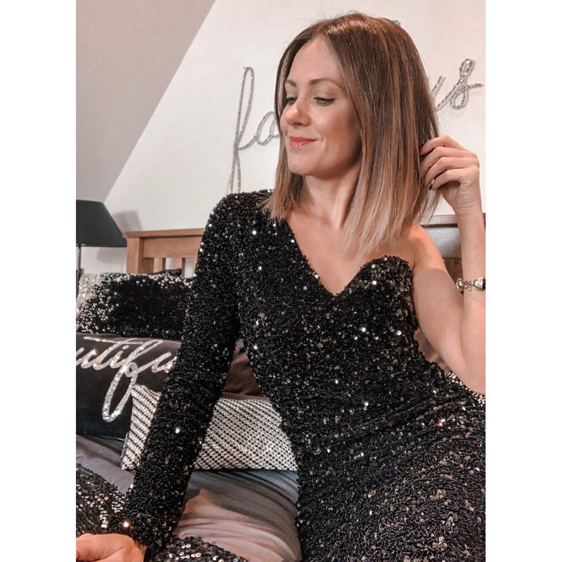 Off shoulder cluster velvet sequin midi dress in black