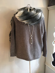 chenille grey jumper and scarf