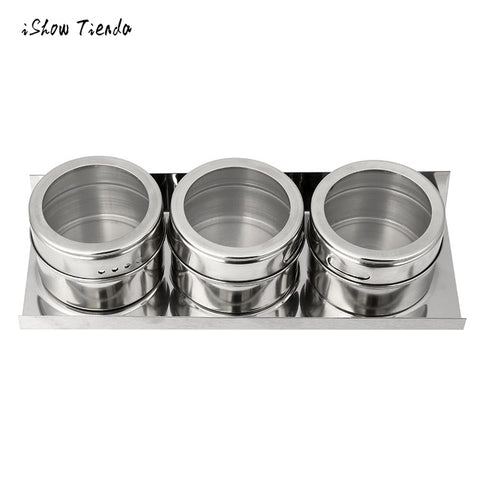 3PCS Stainless Steel Magnetic Spice Jar Tins