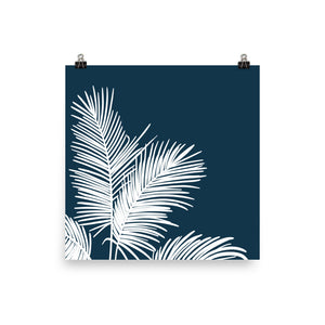 Fronds In Low Places Navy - Large