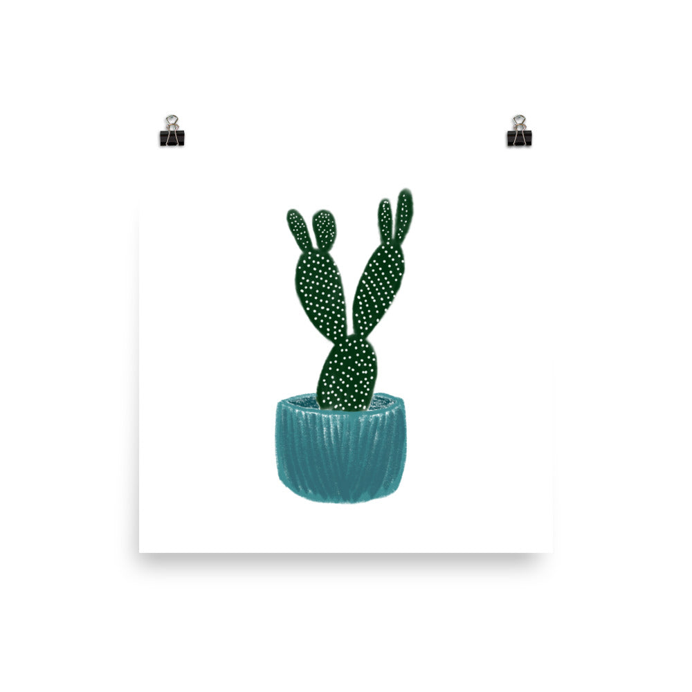 Cactus In A Teal Pot - Large