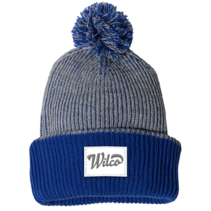 Foldover Knit Navy/Grey Beanie With Pom Pom