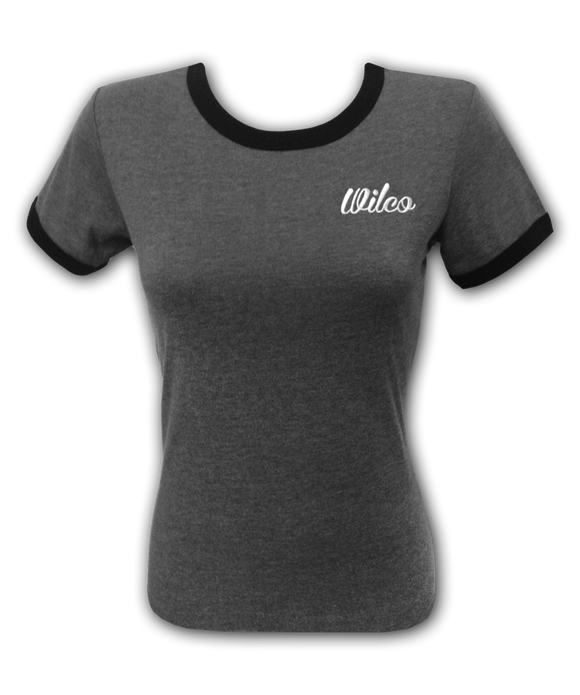 Women's Embroidered Grey Ringer