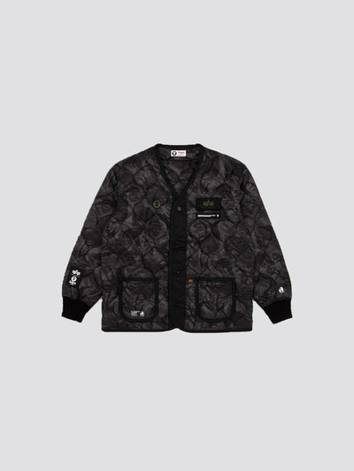 AAPE X ALPHA M-65 DEFENDER LINER OUTERWEAR Alpha Industries BLACK CAMO S