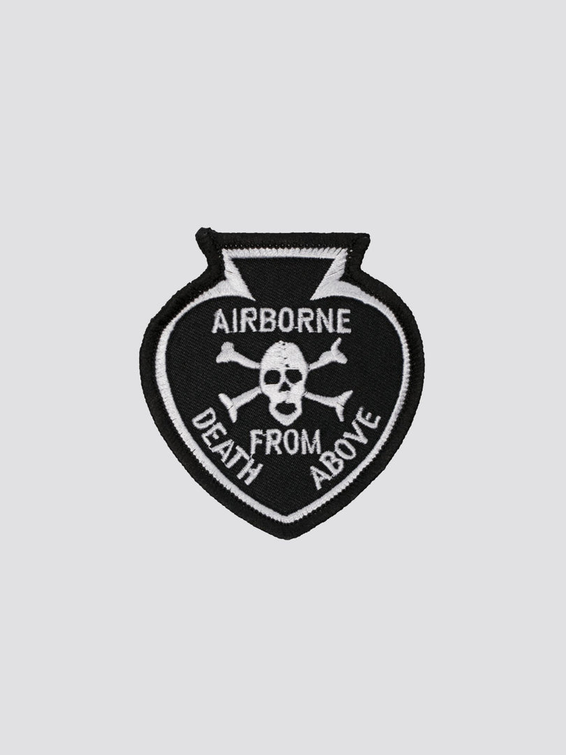 "AIRBORNE ""DEATH FROM ABOVE"" SQUAD PATCH ACCESSORY Alpha Industries BLACK O/S"