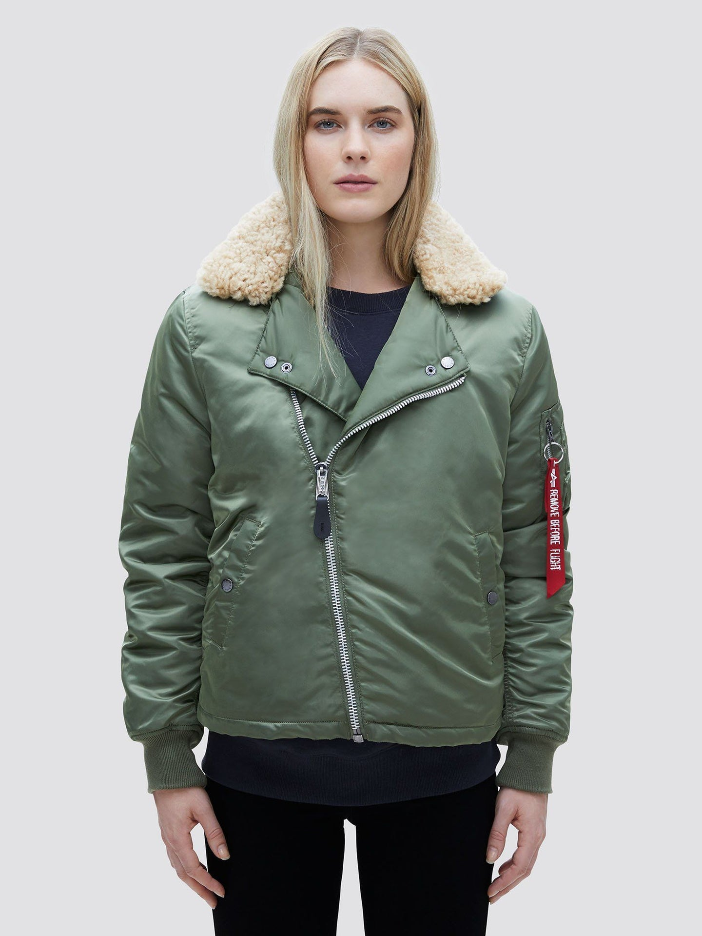 B-15 STRAIGHT HEM MOD BOMBER JACKET W SALE Alpha Industries SAGE L