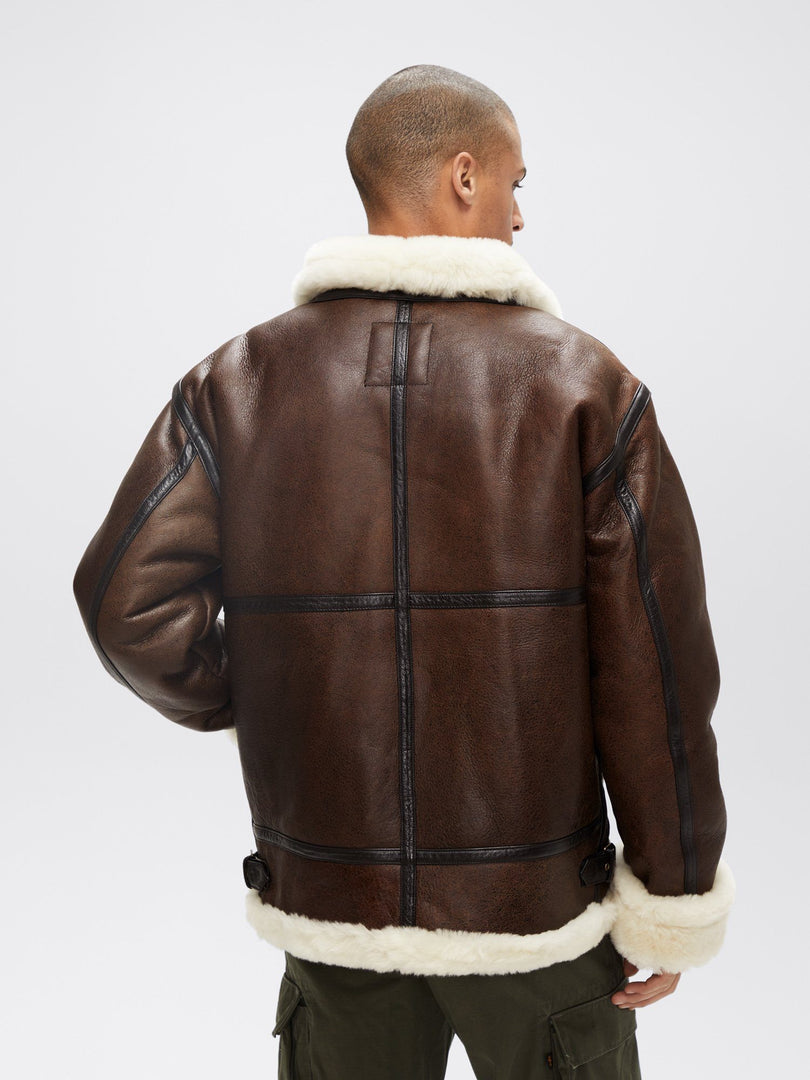 B-3 SHERPA LEATHER BOMBER JACKET OUTERWEAR Alpha Industries