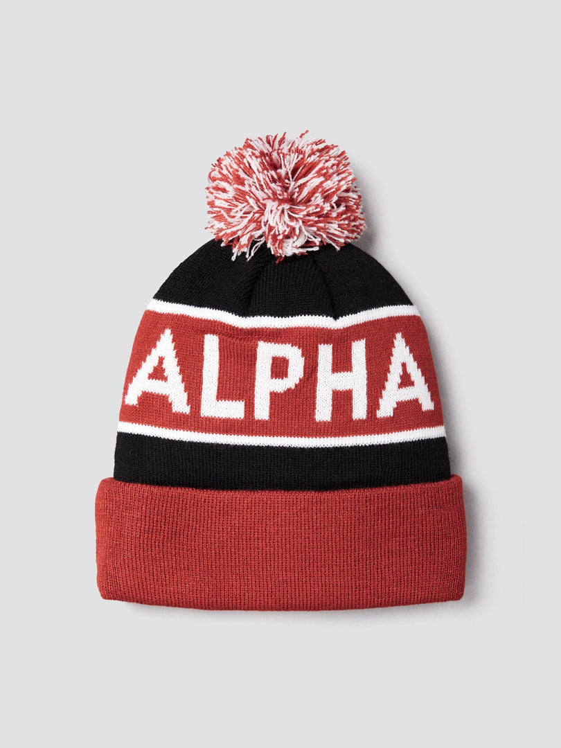 BLOCK BOBBLE BEANIE ACCESSORY Alpha Industries, Inc. BLACK/RED O/S