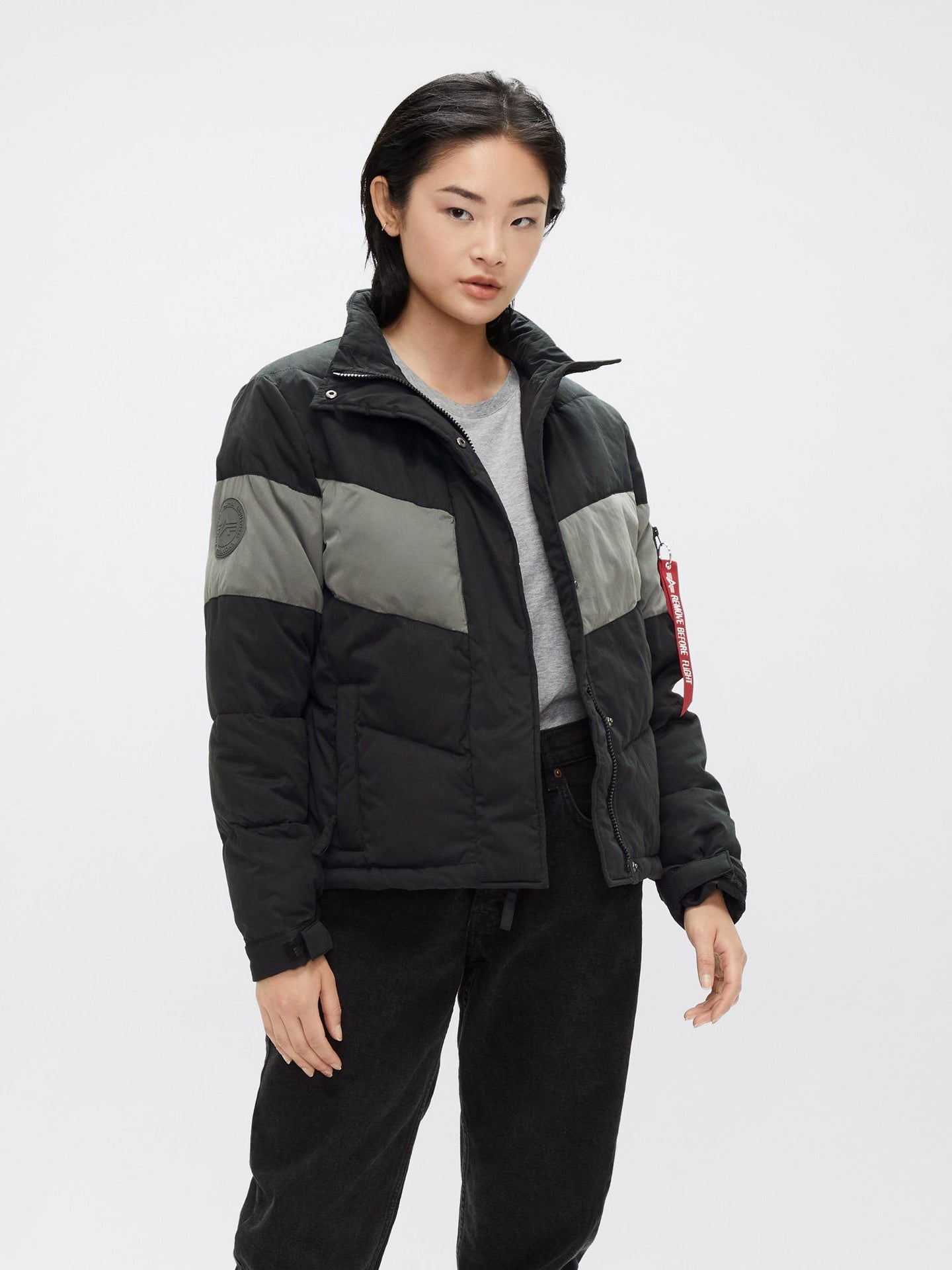 CHEVRON PUFFER PARKA W OUTERWEAR Alpha Industries, Inc. BLACK L