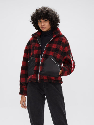 CROPPED SHERPA UTILITY JACKET W OUTERWEAR Alpha Industries, Inc. RED PLAID L