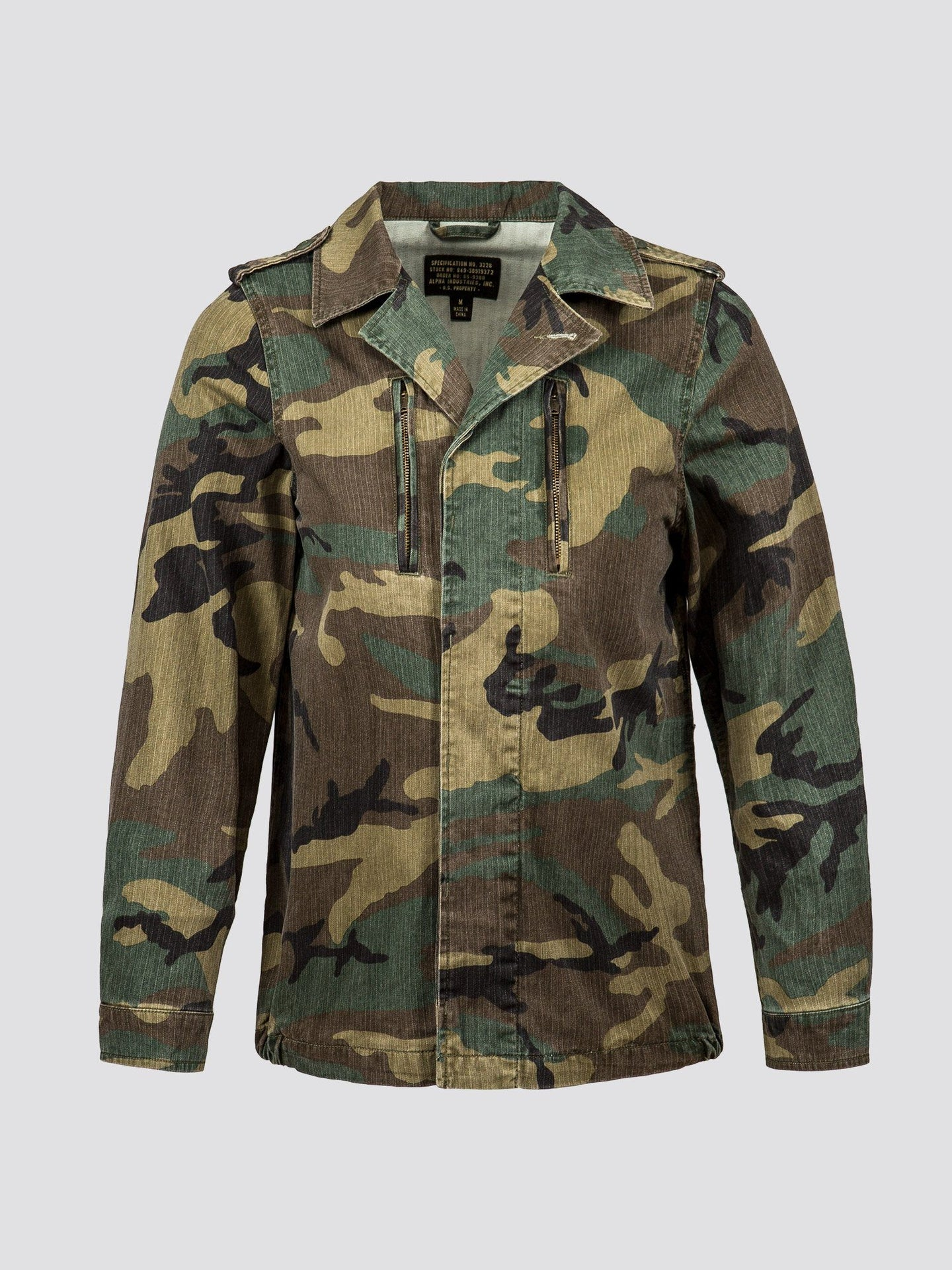 F-2 FRENCH FIELD COAT W SALE Alpha Industries WOODLAND CAMO L