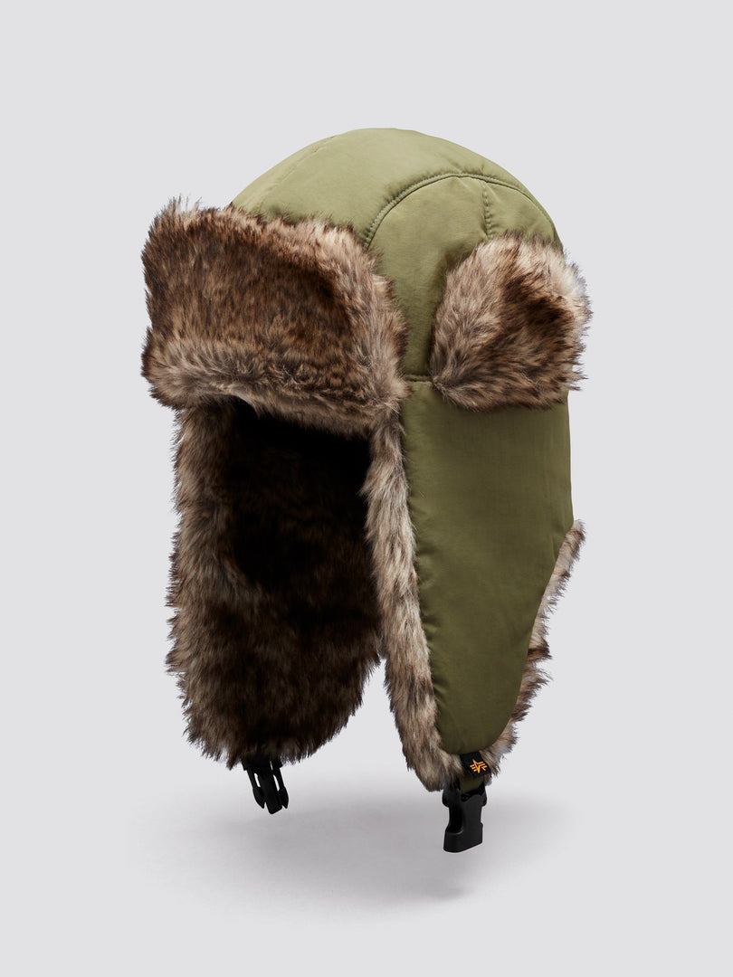 FAUX FUR PILOT CAP ACCESSORY Alpha Industries, Inc. DEEP OLIVE O/S