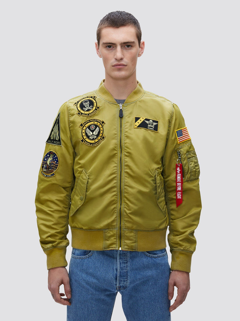 L-2B FEAR THE BONES BATTLEWASH BOMBER JACKET OUTERWEAR Alpha Industries, Inc. NEON YELLOW 2XL