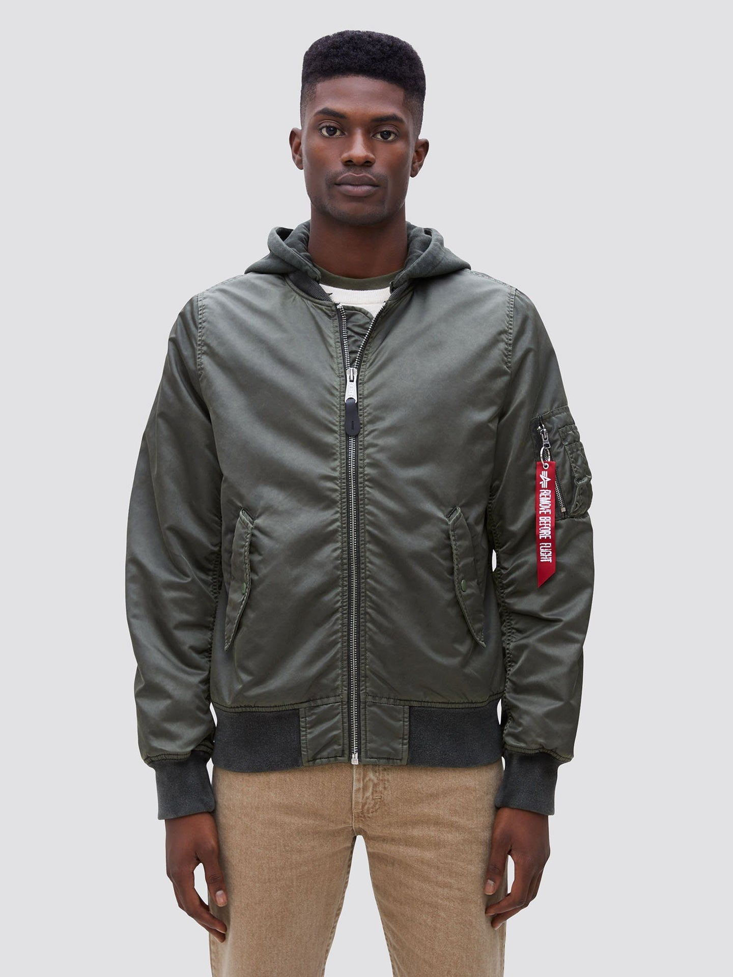 L-2B HOODED BATTLEWASH BOMBER JACKET SALE Alpha Industries SAGE 2XL