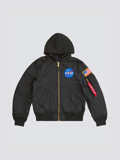 L-2B HOODED NASA BOMBER JACKET OUTERWEAR Alpha Industries BLACK 2XL