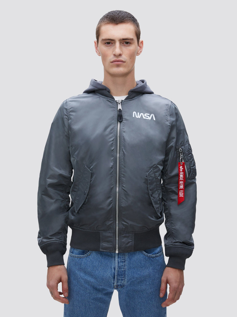 L-2B HOODED NASA II BOMBER JACKET (SEASONAL) SALE Alpha Industries, Inc. GUNMETAL XS